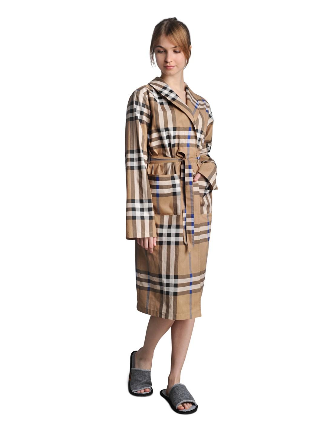 904daad5f5377 Длинный женский халат из бязи с воротничком и надежным поясом.