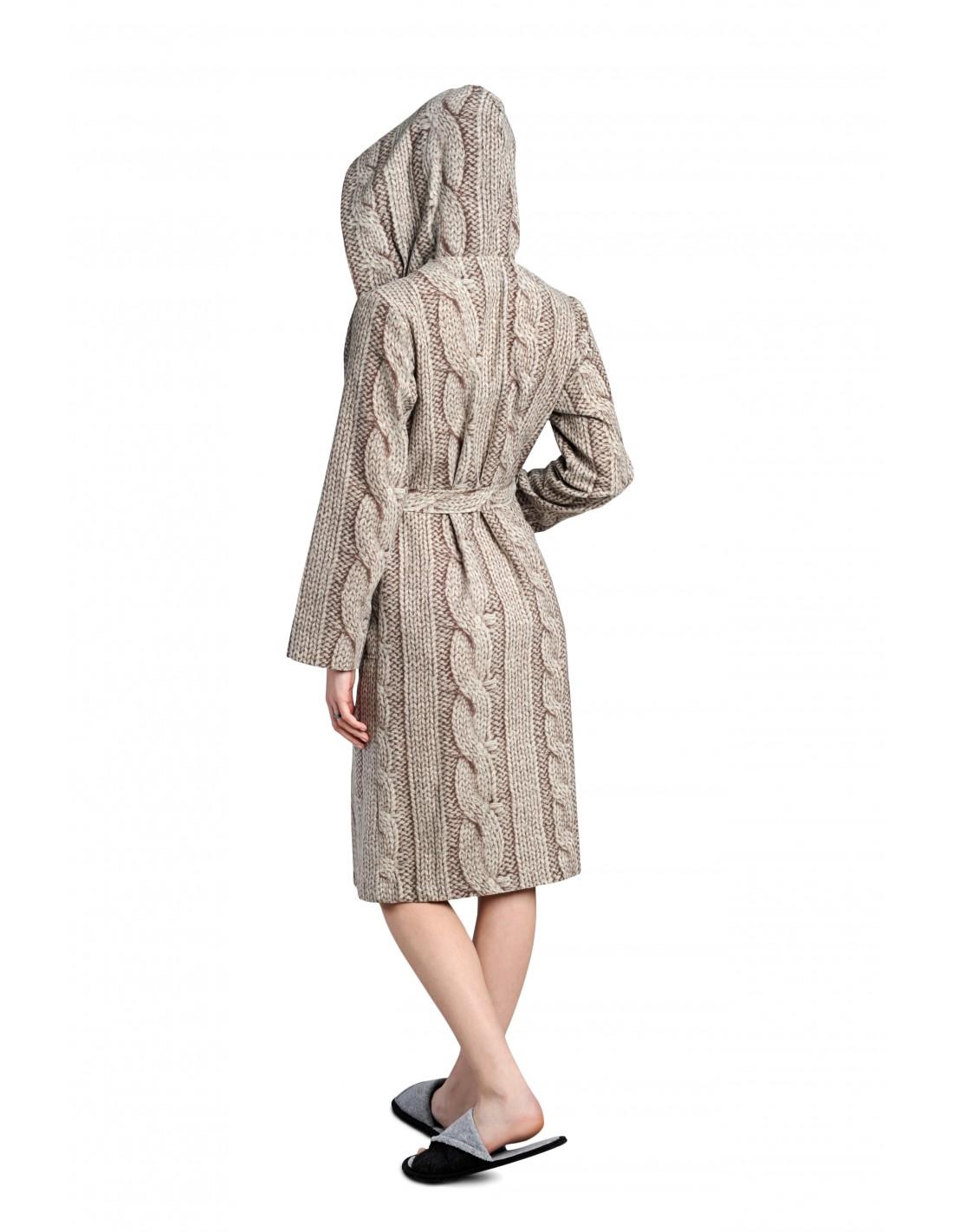 Женский халат вязаный с капюшоном, длиной – «ниже колена ...